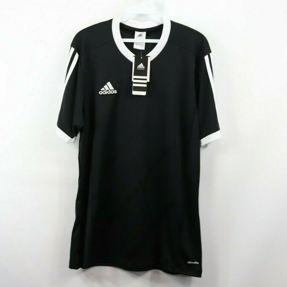 New Adidas Spell Out Striped Soccer Jersey Black S